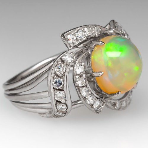 1950's Vintage Opal Cocktail Ring w/ Diamonds 14K White Gold