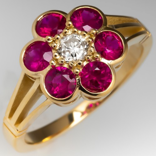 Ruby & Diamond Flower Ring 18K Yellow Gold