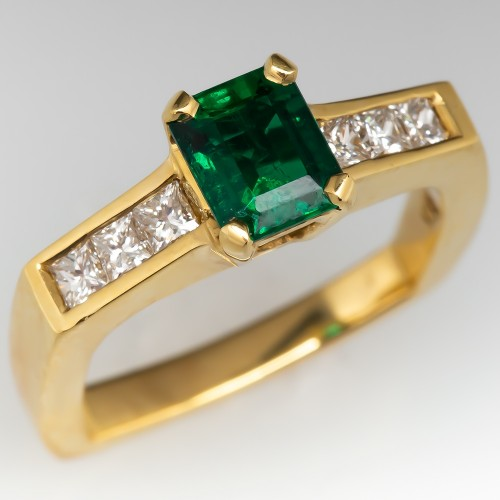 Emerald & Diamond 18K Yellow Gold Engagement Ring