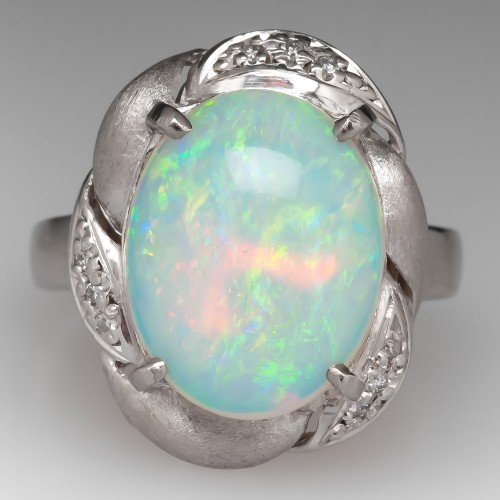 Large Opal Retro Cocktail Ring Platinum w/ Diamonds