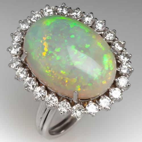 Large Opal Cocktail Ring w/ Diamond Halo 14K White Gold