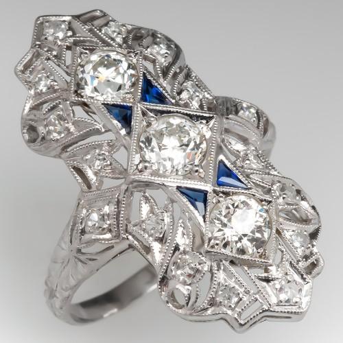 1920's Antique Dinner Ring Old Euro Diamonds Platinum Filigree