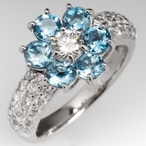 Aquamarine & Diamond Flower Ring Platinum Low Profile