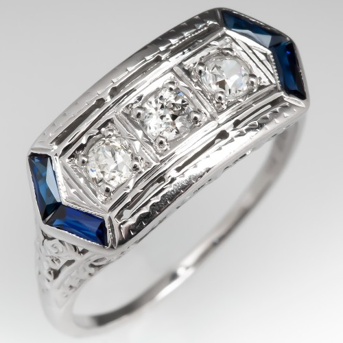 Vintage Three Stone Old Euro Diamond Ring w/ Sapphires 18K
