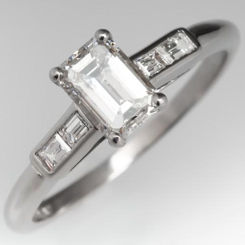 Emerald Cut Diamond Engagement Ring Platinum w/ Dual Baguettes
