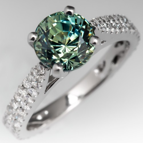 No Heat Icy Blue Green Sapphire Engagement Ring 14K White Gold