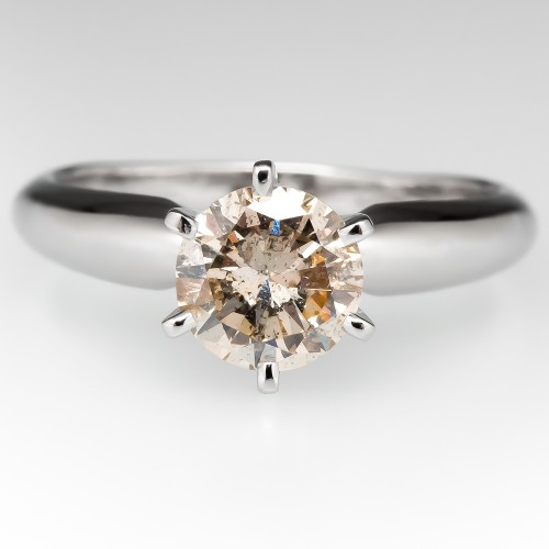 Light Champagne Diamond Solitaire Engagement Ring Platinum 6-Prong