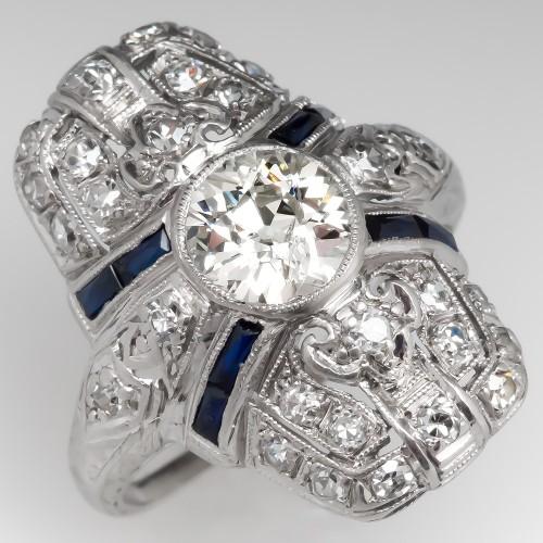 Art Deco 1920's Filigree Old Euro Diamond Dinner Ring Platinum