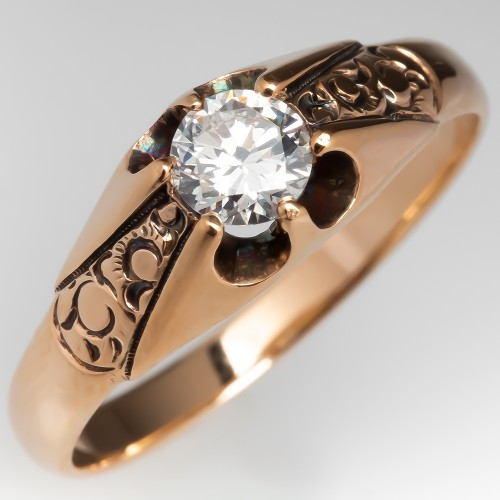 Vintage 14K Yellow Gold Solitaire Engagement Ring Claw w/ Engravings