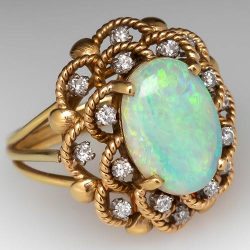 Vintage Opal & Diamond Cocktail Ring 14K Gold
