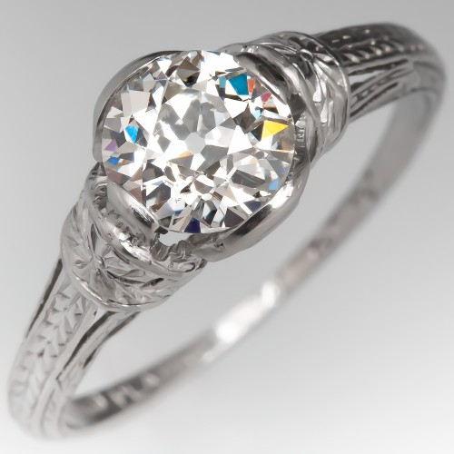 Old European Cut Diamond Engraved Antique Solitaire Engagement Ring