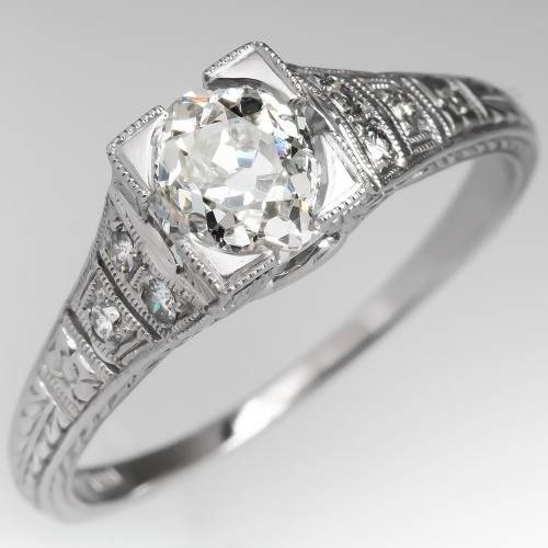 Engraved Old Mine Cut Diamond Engagement Ring Platinum