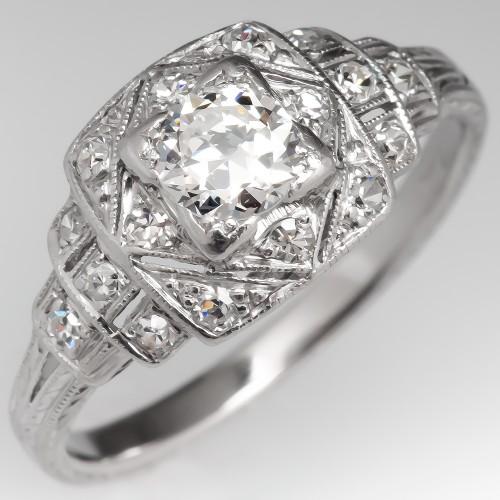 Geometric Detailed Transitional Cut Diamond Vintage Engagement Ring