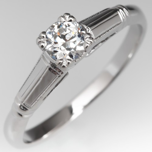 Detailed Solitaire Engagement Ring Transitional Cut Diamond 14K
