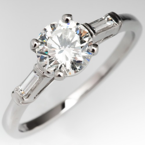 Vintage Round Brilliant Diamond Engagement Ring w/ Baguette Accents