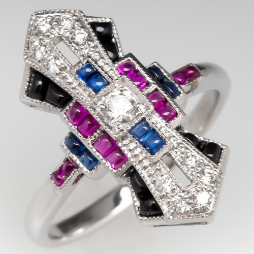 Unique North to South Ring Diamonds Rubies Sapphires Onyx 18K