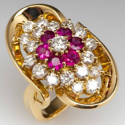Large Ruby Diamond Cluster Cocktail Ring 18K Yellow Gold
