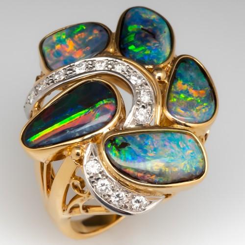 Freeform Opal Cocktail Ring w/ Diamonds 18K Yellow Gold