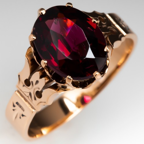 Victorian Rhodolite Garnet Ring 14K Yellow Gold Circa 1900