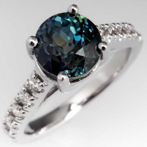 3.8 Carat No Heat Sapphire Engagement Ring w/ Diamonds 14K
