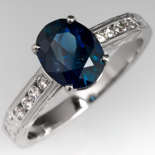 Deep Teal Sapphire Engagement Ring w/ Diamond Accents Platinum Engravings