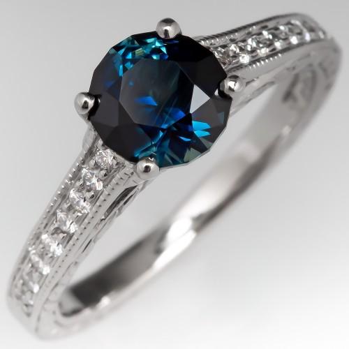 No Heat Rich Teal Sapphire Scott Kay Engagement Ring Palladium