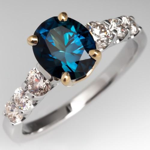 Vivid Teal Sapphire Engagement Ring w/ Diamond Accents 14K