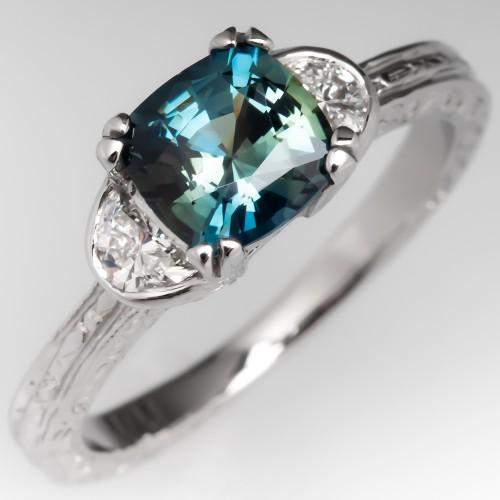 No Heat Cushion Sapphire Engagement Ring w/ Half Moon Diamond Accents