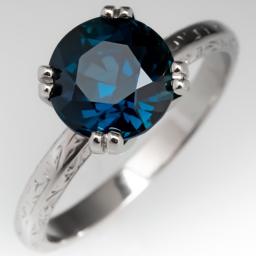 3.6 Carat No Heat Peacock Sapphire Solitaire Engagement Ring