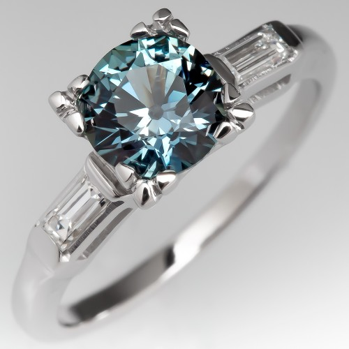 No Heat Icy Montana Sapphire Engagement Ring w/ Baguettes