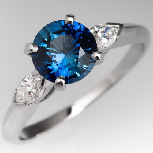 Velvet Blue Sapphire Engagement Ring w/ Marquise Diamond Accents