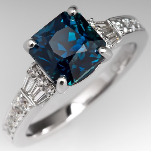 No Heat Peacock Sapphire Engagement Ring 18K White Gold
