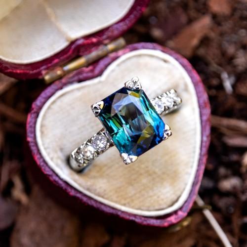 5 Carat Blue Green Sapphire Engagement Ring Platinum