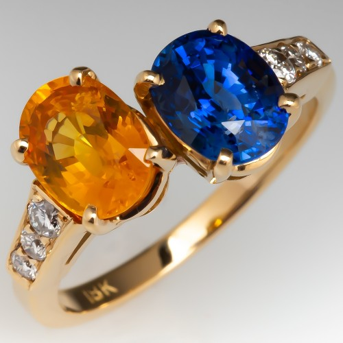 Blue & Yellow Sapphire Ring w/ Diamond Accents 18K Gold