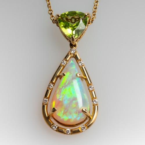 3db9be2f5f9 Pear Cut Opal Diamond & Peridot Drop Pendant Necklace 18K Gold