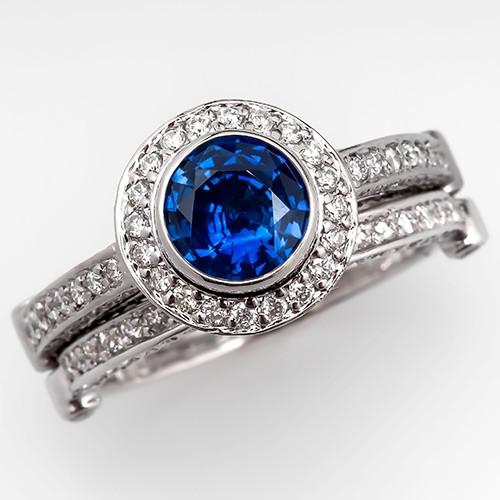 Blue Sapphire Bridal Set