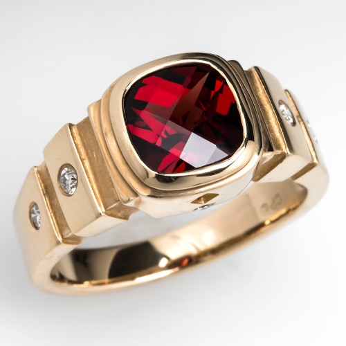 Bezel Set Garnet Ring
