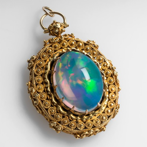 Antique Victorian Era Jelly Opal Locket Pendant