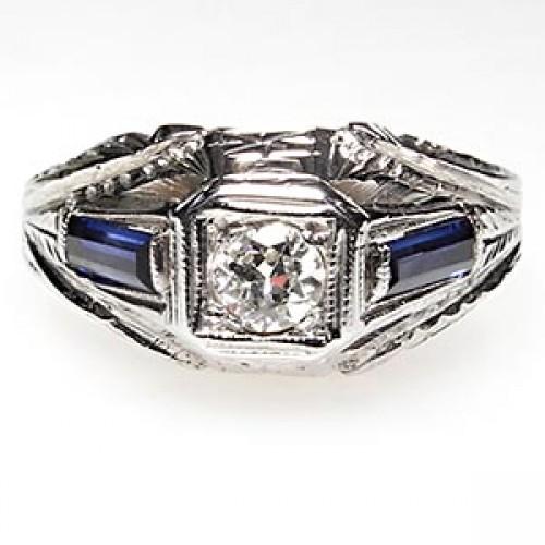Art Deco Antique Diamond & Sapphire Engagement Ring
