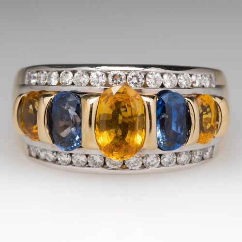 Blue & Yellow Sapphire Wide Band Ring w/ Diamonds 18K