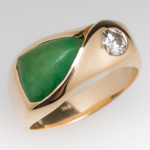 Vintage Jadeite Jade & Diamond Freeform Ring 14K