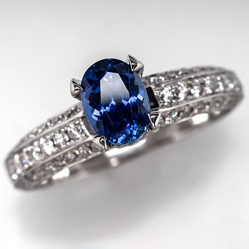1 Carat Unheated Icy Blue Sapphire & Diamond Ring 18K