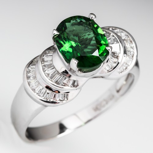 Natural Chrome Tourmaline & Diamond Ring 18K White Gold