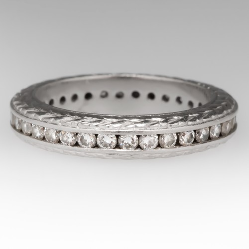 Platinum Diamond Eternity Wedding Band Ring, Size 5