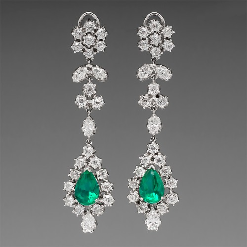 5.4 Carat Emerald & 8.5 Carat Diamond Platinum Earrings