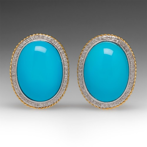 Robin's Egg Blue Reconstituted Turquoise & Diamond Earrings 18K