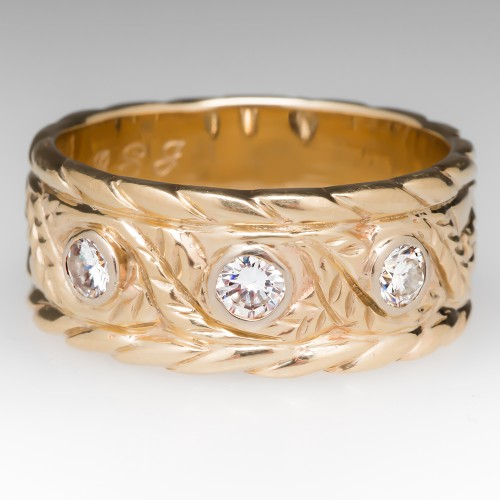 Mens Wide Band Diamond Ring Floral Engravings 14K