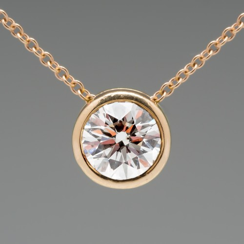 .74 Carat Round Brilliant Diamond Slider Pendant 14K