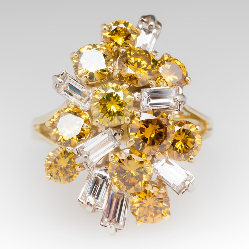 Vivid Yellow Diamond Cluster Cocktail Ring 18K Yellow Gold