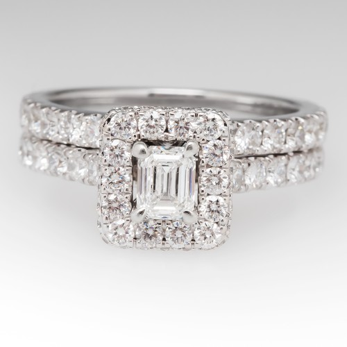 Neil Lane Diamond Halo Wedding Ring Set 14K White Gold